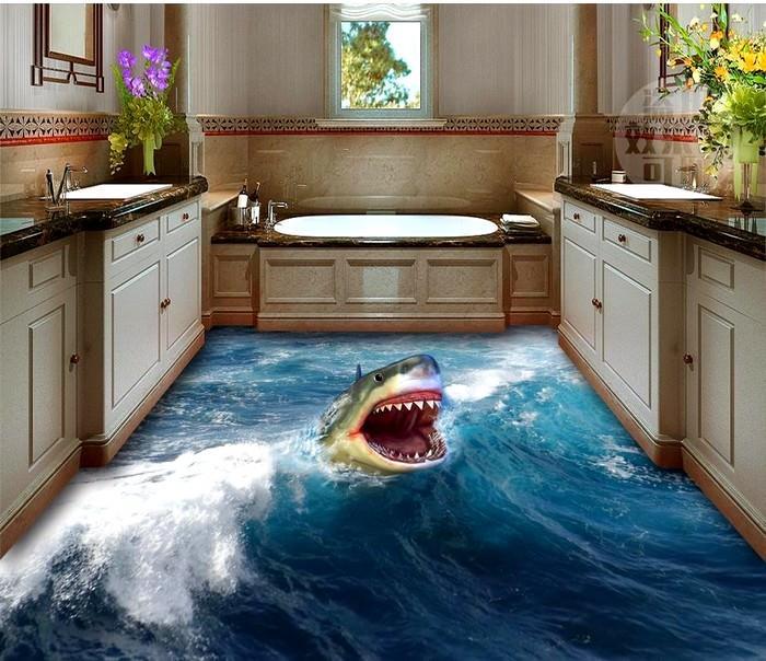 banyo 3d resim baskılı zemin kaplamaları