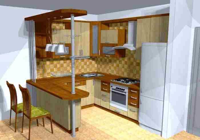 u şeklinde küçük mutfak modeli
