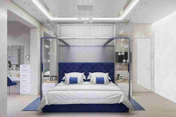 Güncel renklerde şık yatak odası tasarımı