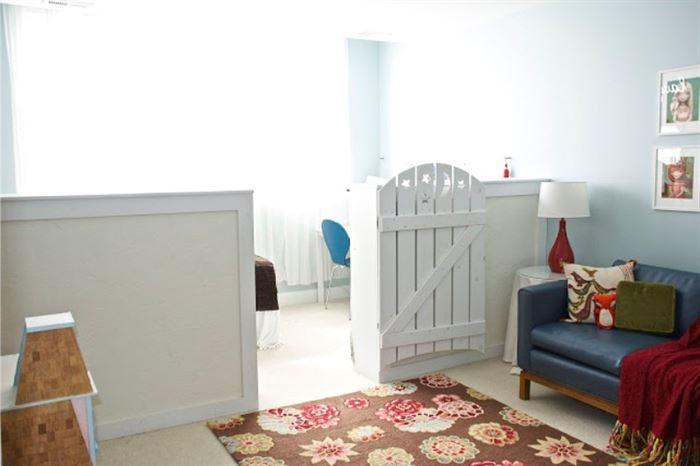 Oturma odası ve çocuk odası kombinasyonu
