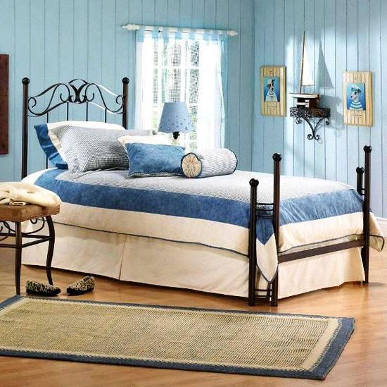 mavi yatak odası renk kombinleri