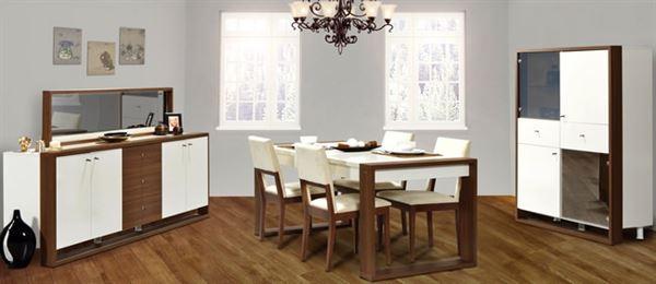 alfemo ceviz beyaz yemek odası