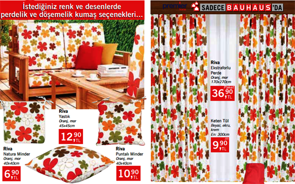 bauhause-yazlik-perdeleri bauhaus yazlık tekstil Ürünleri ve fiyatları