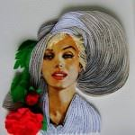 renkli kâğıtlarla 3d süsleme modelleri - bayan resmi duvar tablo 3d 150x150 - Renkli Kâğıtlarla 3D Süsleme Modelleri