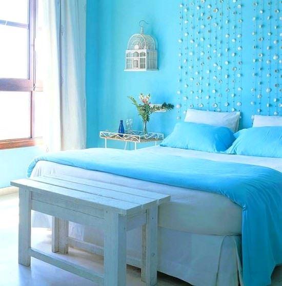 mavi renk yatak odası