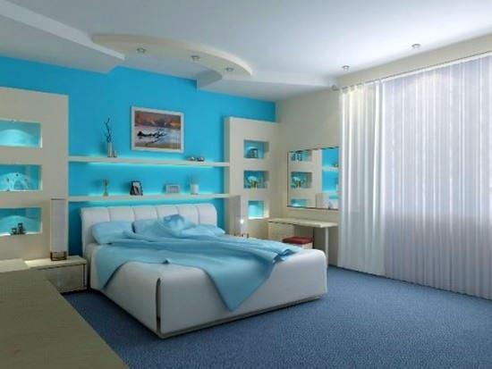 mavi yatak odası dekorasyon