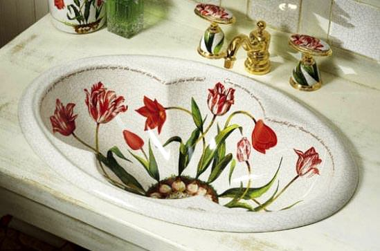 çiçek desenli lavabo modeli