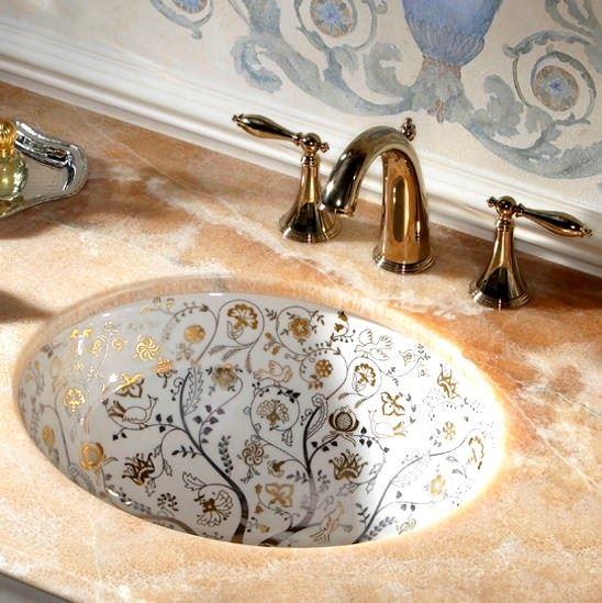 işleme motifli oval lavabo modeli