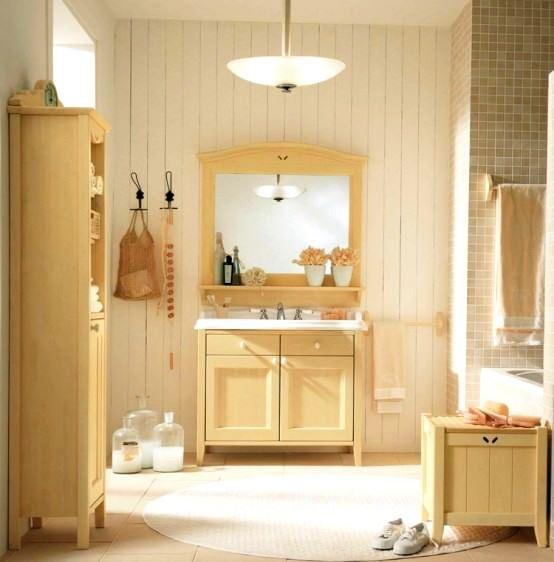 avangard ve contry tarzı ev dekorasyon modeli - contry banyo mobilyalari