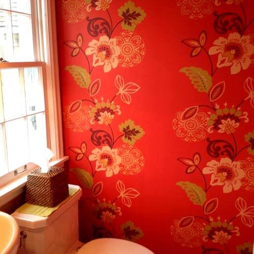 banyo çiçekli duvar kağıt