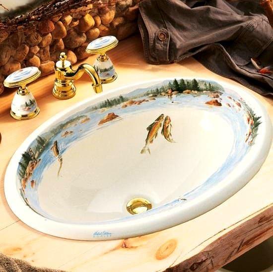 resim baskılı lavabo