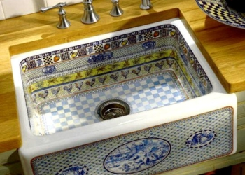 desenli mutfak lavabo
