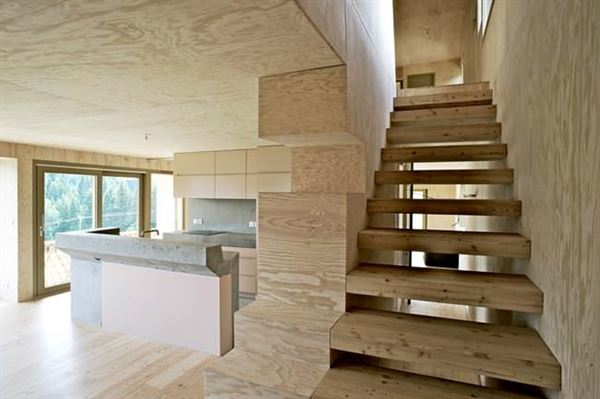 ahşap dağ evi tasarımı - dogal ahsap ev merdiveni - Ahşap Dağ Evi Tasarımı