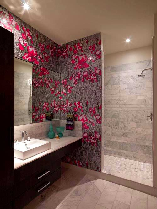 desenli banyo duvar kağıt