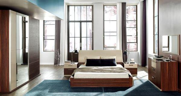 ceviz renkli enza yatak odası