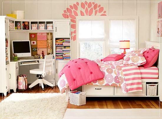 pembe genç kız odası dekorasyon