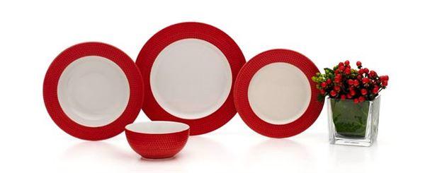 karaca kırmızı renkli yemek takımı