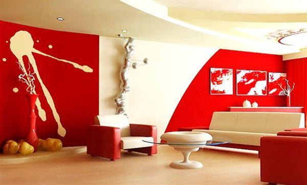 Kırmızı ile oda dekorasyon stilleri
