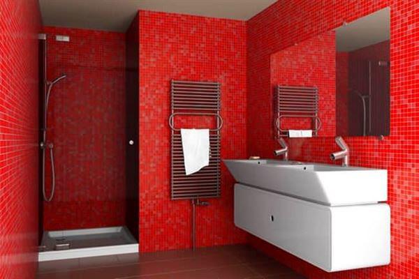 modern yenilikçi banyo dekorasyon stilleri - kirmizi cinili banyo - Modern Yenilikçi Banyo Dekorasyon Stilleri