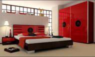 Kırmızı renkli yatak odası mobilya dekorasyonları
