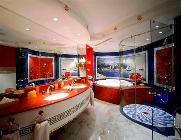 modern yenilikçi banyo dekorasyon stilleri - kirmizi mavi banyo - Modern Yenilikçi Banyo Dekorasyon Stilleri