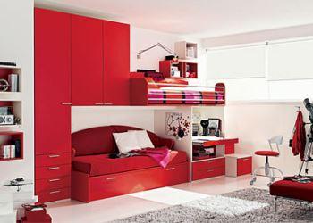 kırmızı genç odası ranzaları