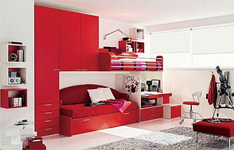 kırmızı genç odası ranzaları fonksiyonel renkli ranzalı genç odaları