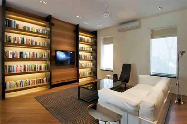 Kitaplikli salon dekorasyonu for Small reading room design ideas