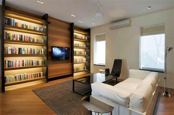 Kitaplikli salon dekorasyonu for Living room t v area design