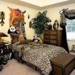leopar-desenli-yatak-odasi hayvan desenli İç dekorasyon fikirleri