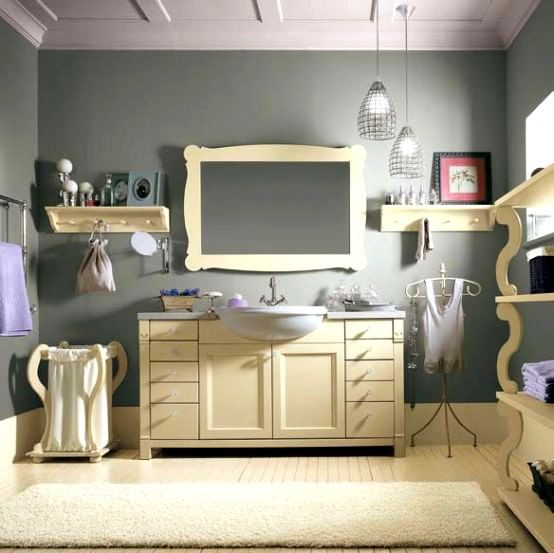 avangard ve contry tarzı ev dekorasyon modeli - luks contry banyo
