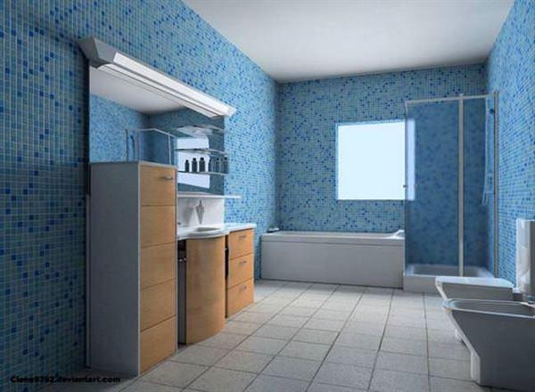 modern yenilikçi banyo dekorasyon stilleri - mavi cinili banyo - Modern Yenilikçi Banyo Dekorasyon Stilleri