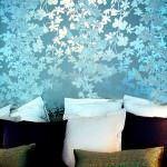 mavi çeçek desenli duvar kağıt