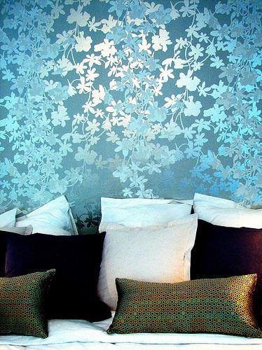 mavi çeçek desenli duvar kağıt yeni tasarım duvar kağıt desenleri ve renkleri