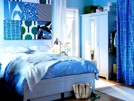 mavi yatak odası dizaynı