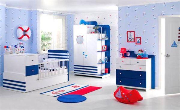 bebek-odasi-mobilyalari bebek odası yeni tasarım modelleri - meltem bebek odasi mavi beyaz - Bebek Odası Yeni Tasarım Modelleri