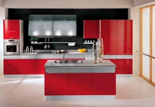 ada tipi siyah kırmızı mutfak