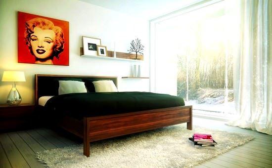 modern süslenmiş yatak odası