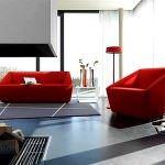 renkli koltuk takımlarıyla oda dekorasyonu - modern kirmizi kanepe 150x150