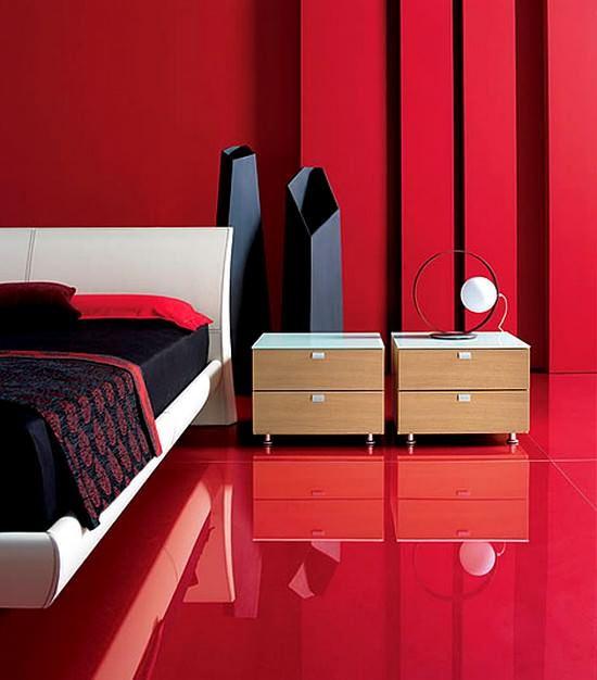 Kırmızı renkli yatak odası mobilya dekorasyonları 3