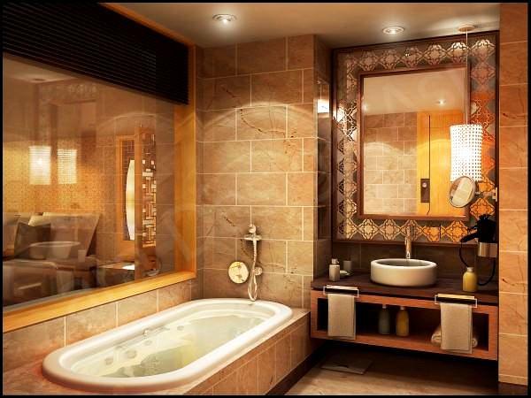 modern lüks banyo dekorasyonu