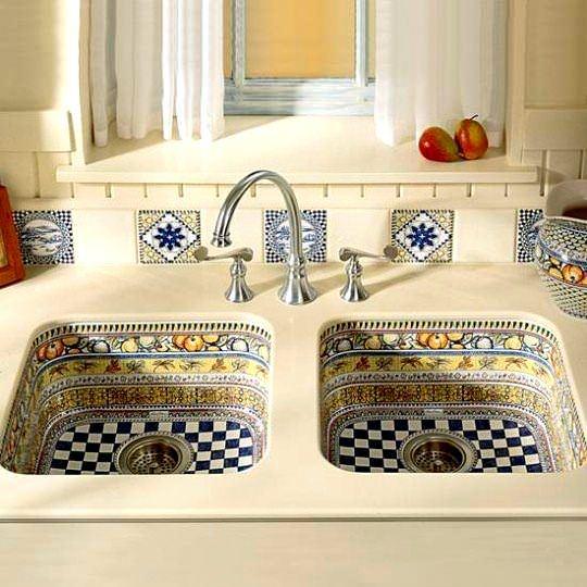 desenli çiftli mutfak lavabosu