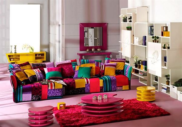 Modern renkli mobilya dekorasyon stilleri 8