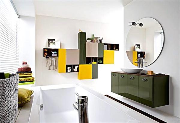 modern yenilikçi banyo dekorasyon stilleri - oval aynali banyo modeli - Modern Yenilikçi Banyo Dekorasyon Stilleri