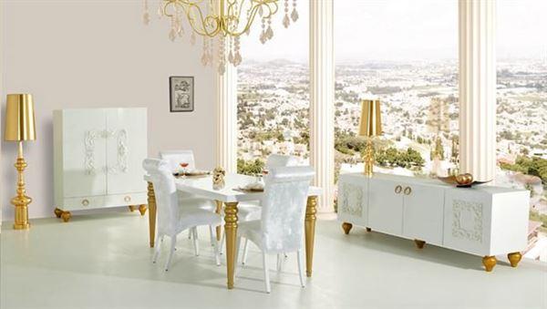 Rapsodi Mobilya Dekoratif Yemek Odası Modelleri rapsodi mobilya dekoratif yemek odası modelleri - rapsodi fantasia beyaz varakli yemek odasi - Rapsodi Mobilya Dekoratif Yemek Odası Modelleri