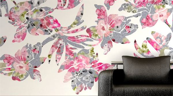 pembe resim baskılı duvar kağıt