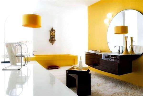 modern yenilikçi banyo dekorasyon stilleri - sari dekoratif banyo - Modern Yenilikçi Banyo Dekorasyon Stilleri