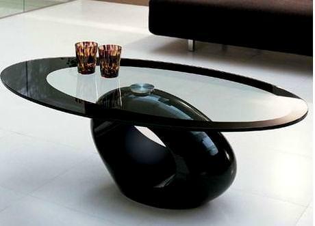 farklı orta sehpa modelleri - siyah farkli oval sehpa - Farklı Orta Sehpa Modelleri