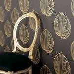 kahve sarı yaprak desenli duvar kağıt
