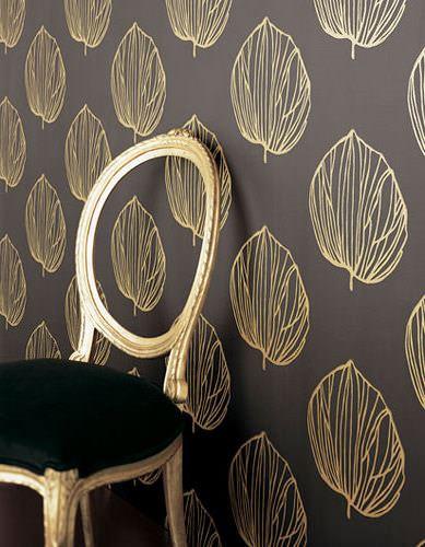 kahve sarı yaprak desenli duvar kağıt yeni tasarım duvar kağıt desenleri ve renkleri